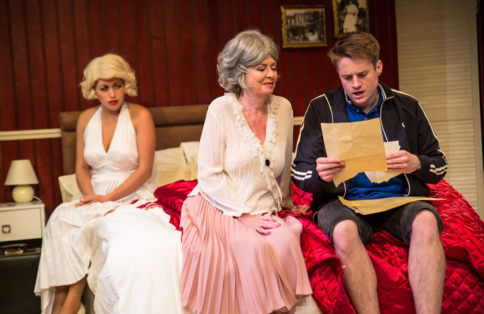 Farrel Hegarty, Vicki Michelle and Jamie Hutchins in Hello Norma Jeane at London's Park Theatre. Photo: Mia Hawk