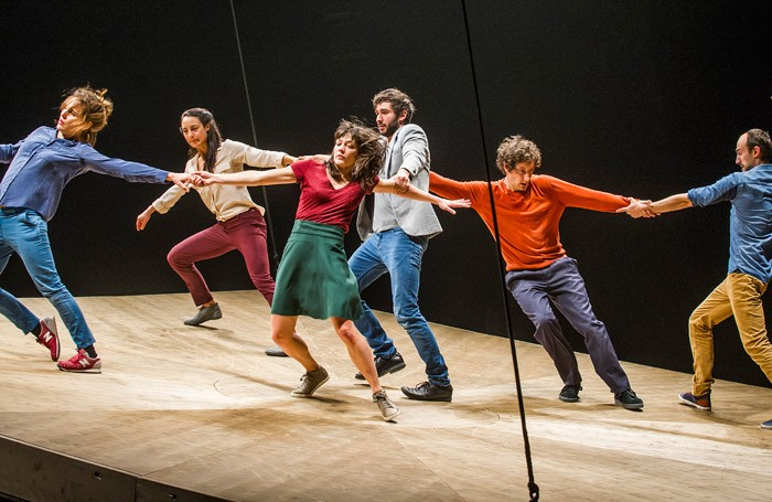The cast of He Who Falls at Barbican Theatre, London Photo: Tristram Kenton
