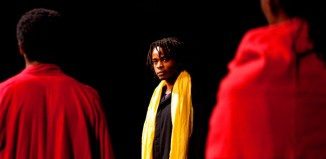 Jared McNeill, Ery Nzaramba and Carole Karemera in Battlefield at the Young Vic, London