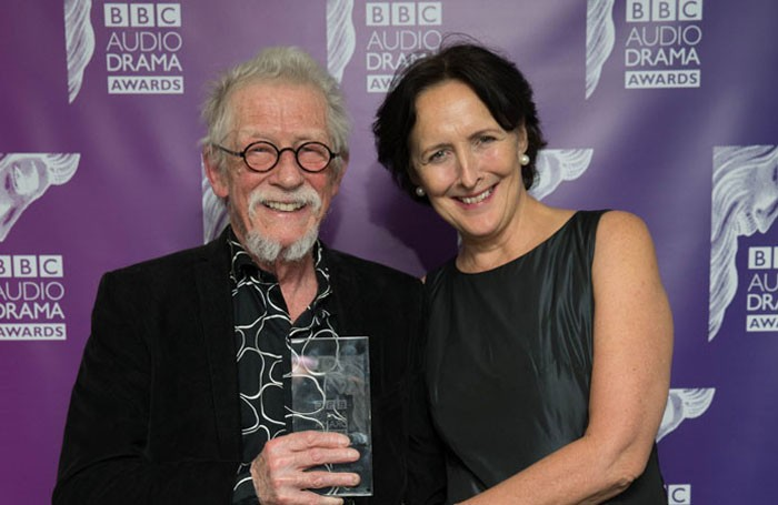 John Hurt with Fiona Shaw, who presented him with the outstanding contribution award at the BBC Audio Drama Awards. Photo: BBC/Guy Levy