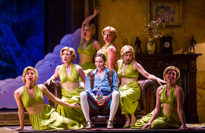Kate Lindsey with the chorus in L'Etoile by Emmanuel Chabrier at the Royal Opera House. Photo: Tristram Kenton