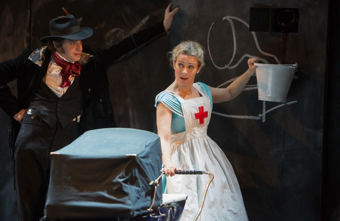 Javier Marzan and Emma Fielding in The Massive Tragedy of Madame Bovary! at Liverpool Everyman Photo: Jonathan Keenan