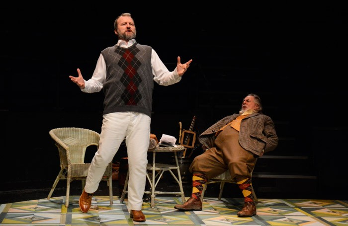 Andrew Vincent and Barrie Rutter in The Merry Wives at New Vic, Newcastle-under-Lyme