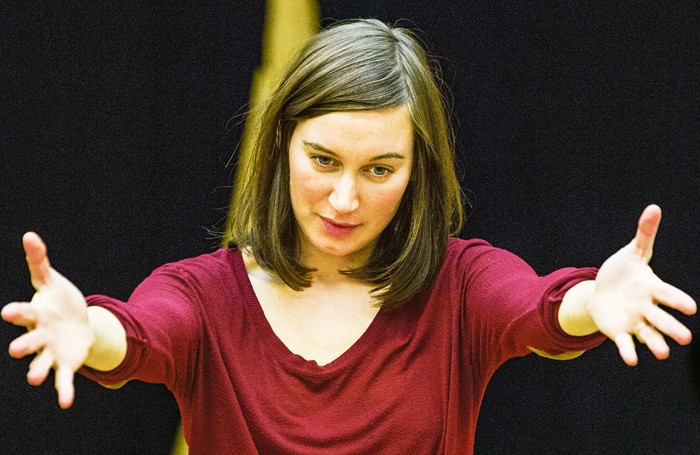 Pippa Nixon rehearsing for The Tempest at London's Sam Wanamaker Playhouse. Photo; Marc Brenner