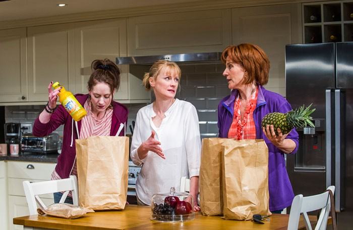 Georgina Rich, Claire Skinner and Penny Downie in Rabbit Hole at Hampstead Theatre. Photo: Tristram Kenton
