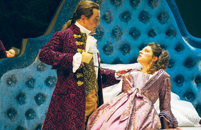 Mark Stone and Elizabeth Watts in the WNO Marriage of Figaro at Wales Millennium Centre, Cardiff.