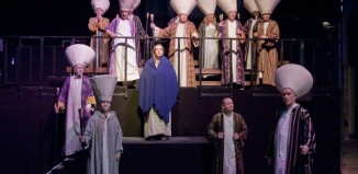 Abigail Kitching as Jesus and the chorus of The Passion at Campfield Market, Manchester. Photo: Graeme Cooper