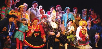 Some of the clowns attending, including Arthur Pedlar (centre) and event organiser Andrew Davis (back row, fourth from right).