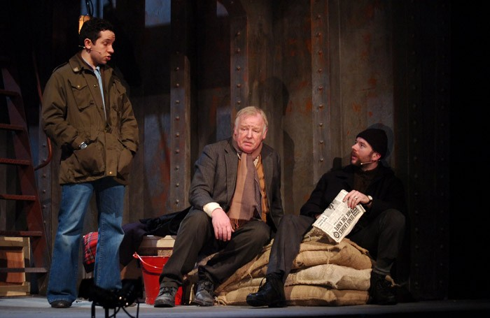 Nathan McMullen, Les Dennis and Derek Barr in Down the Dock Road at Royal Court, Liverpool. Photo: Bond Media