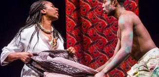 Tanya Moodie and Paapa Essiedu in Hamlet at the Royal Shakespeare Theatre.. Photo: Tristram Kenton