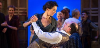 Hattie Ladbury and Thomas Padden as Beatrice and Benedick in Much Ado About Nothing at Queens Theatre, Hornchurch.