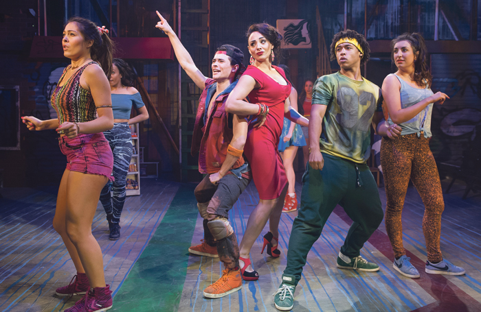 Victoria Hamilton-Barritt (centre) and cast of In the Heights at the Southwark Playhouse.. Photo: Tristram Kenton
