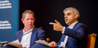 Sadiq Khan addressing members of the Creative Industries Federation at an event chaired by its chief executive John Kampfner. Photo: Gabriel Popa