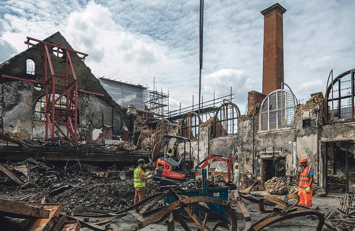 The salvage operation on the Battersea Arts Centre grand hall in July 2015. Photo: Morley von Sternberg