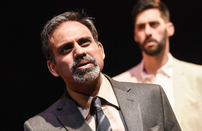 Neil DSouza and Robert Mountford in The Dishoured at Arcola Theatre, London. Photo: Robert Day