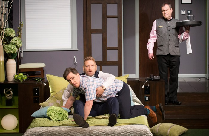 Kenneth Branagh, Rob Brydon and Mark Hadfield in The Painkiller at the Garrick Theatre. Photo: Johan Persson