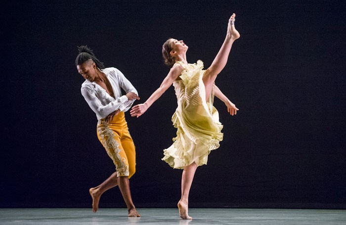 Ihsaan de Banya and Jennifer Hayes in Richard Alston Dance Company – An Italian in Madrid at Sadler's Wells, London. Photo: Tristram Kenton