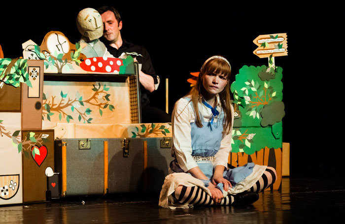 Noel Byrne and Antonia Christophers in Alice's Adventures in Wonderland at the Little Angel Theatre, London