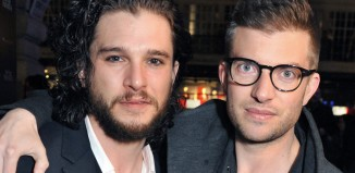 Kit Harington and Jamie Lloyd at the opening night of Doctor Faustus. Photo: Paul Clapp