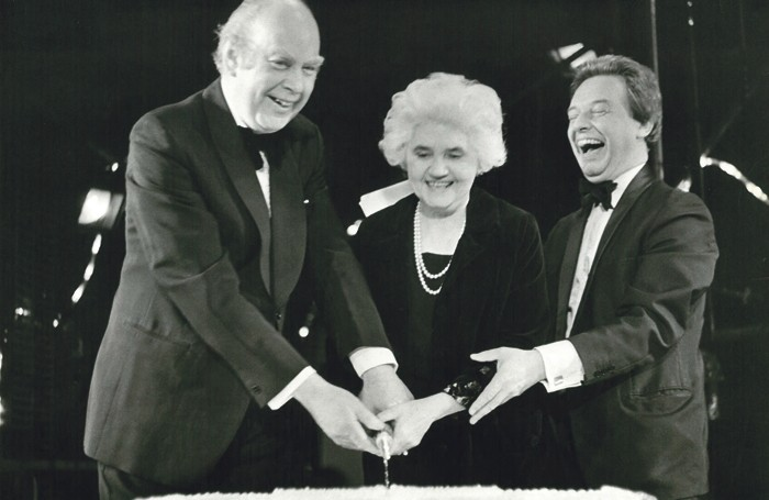 1965 arts minister Jennie Lee with Brian Batsford and Martin Bowley cutting a cake for the Questors' Theatre's birthday