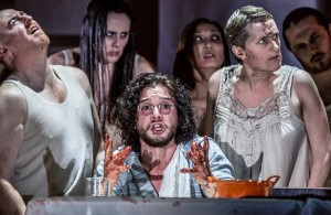 EMBARGOED until 26 04 16 (l - r) Forbes Masson, Kit Harington and Jenna Russell in Doctor Faustus at the Duke of York's Theatre London CREDIT Marc Brenner