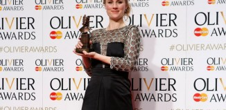Jessica Swale with her Olivier award for best new comedy for Nell Gwynn