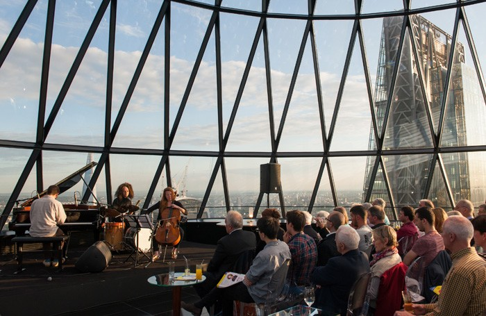 The Kit Downes Trio play at the Gherkin as part of the City of London Festival in 2014. Photo: City of London Festival
