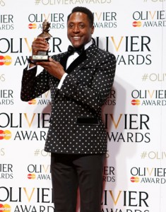 Actor Matt Henry with his Olivier for best actor in a musical