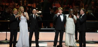 Michael Ball performing at the Olivier-Awards-2016 with (left to right) Michael Feinstein, Leigh Zimmerman, Sharon D Clarke and Joe-Stilgoe. Photo: Alastair Muir