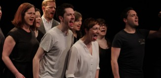 The cast of The Non-Stop Connolly Show at the Finborough Theatre, London.