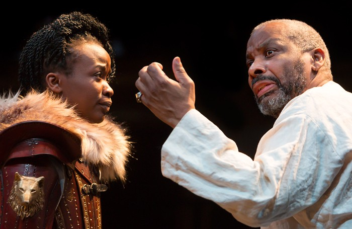 Pepter Lunkuse and Don Warrington in King Lear at the Royal Exchange Theatre, Manchester