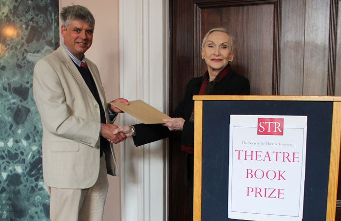 Sian Phillips presents Steve Nicholson with the Theatre Book Prize. Photo: Vicki Holland