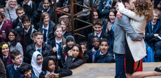 School pupils watch a performance of The Merchant of Venice at Shakespeare's Globe. Photo: Amit Lennon