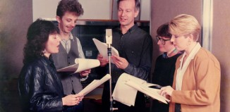 The cast of The Colcloughs recording the show in 1991