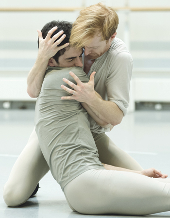 Steven McRae and Federico Bonelli in rehearsals for the Royal Ballet's production of Frankenstein. Photo: Andrej Uspenski/Royal Opera House