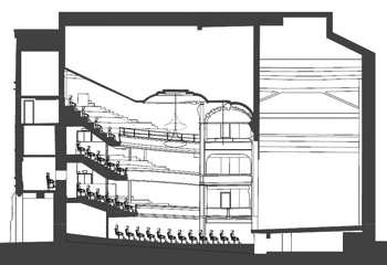 A cross section showing the auditorium's seating before (top) and after (below), showing the raked seating and the levelled stage