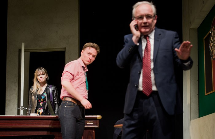 A View from Islington North: Sarah Alexander, Joseph Prowen and Bruce Alexander in The Accidental Leader. Photo: Robert Workman