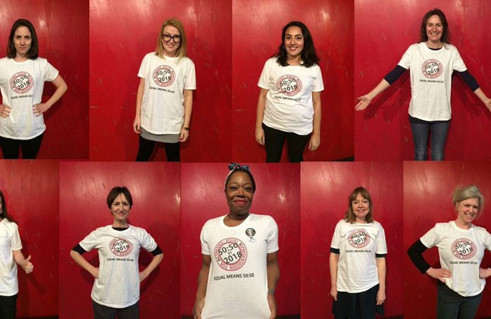 Actresses wear T-shirts emblazoned with the Equal Representation for Actresses campaign logo. Photo: Equal Representation for Actresses