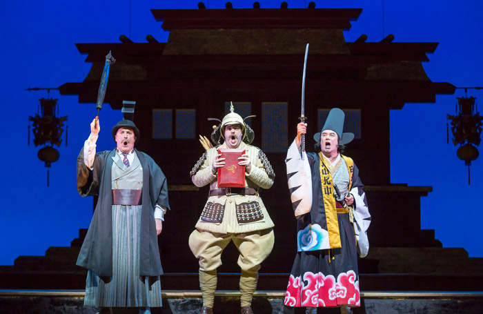 Andrew Shore, Ben McAteer and Richard Suart in The Mikado at Theatre Royal, Glasgow. Photo: James Glossop