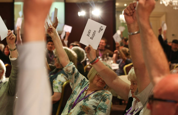 Representatives vote on a motion at Equity ARC 2016. Photo: Phil Adams