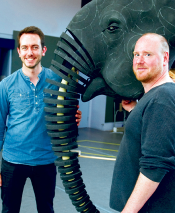 Toby Olie and Finn Caldwell, above, with their elephant puppet. Photo: Mike Eddowes