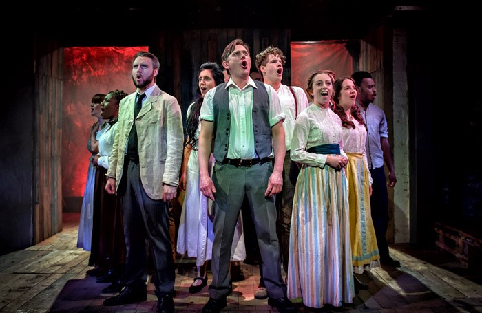 The cast of Parade at the Hope Mill Theatre, Manchester. Photo: Anthony Robling