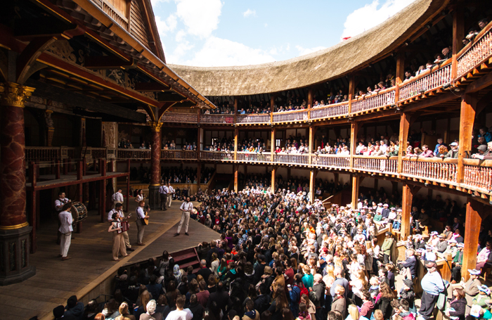 Shakespeare's Globe during a performance of Romeo and Juliet. Photo: Helena Miscioscia