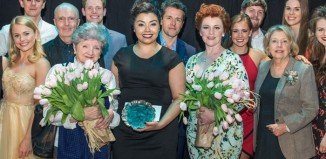 Stephen Sondheim Society Student Performer of the Year finalists with Edward Seckerson, Julian Ovenden and Anne Reid. Front row: Julia McKenzie, winner Courtney Bowman and Sophie-Louise Dann