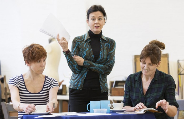 Anna-Jane Casey, Rebecca Caine and Clare Burt in rehearsals for Flowers for Mrs Harris. Photo: Johan Persson