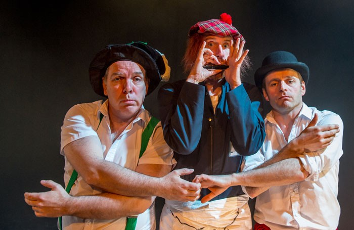Lloyd Hutchinson, Brian Logan and Will Adamsdale in the Joke at Camden People's Theatre. Photo: Brian Roberts