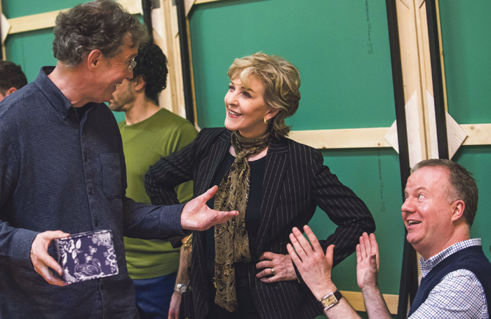 Patricia Hodge in rehearsals with actor Steven Pacey, who plays her nephew Henry, and director Christopher Luscombe. Photo: Tristram Kenton