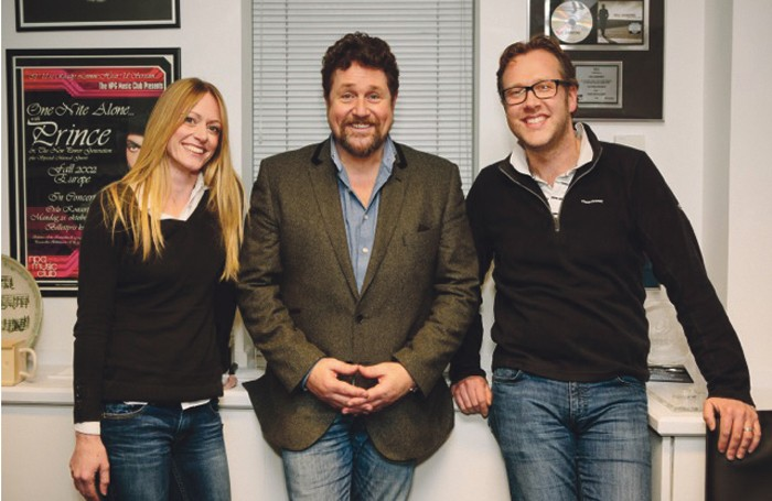 Wendy Barnes with Pitch Perfect patron Michael Ball and chief executive Andy Barnes.