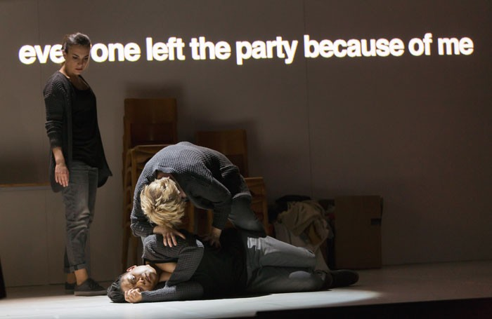 Clare Presland, Gweneth-Ann Rand and Lucy Schaufer in 4.48 Psychosis at Lyric Hammersmith. Photo: Stephen Cummiskey