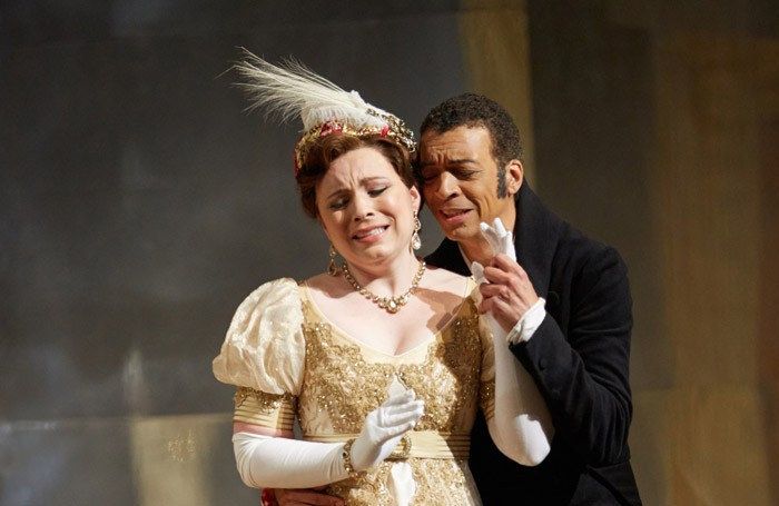 Natalya Romaniw with Roderick Williams in Eugene Onegin at Garsington Opera. Photo: marc Douet